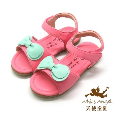 天使童鞋-F5043 快樂蝴蝶結涼鞋 (小童)-俏麗桃