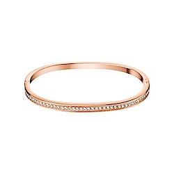 CALVIN KLEIN HOOK 系列窄版玫瑰金水鑽款封閉式手環