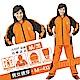 JUMP 將門 挺雅日系雙拉鏈套裝兩件式風雨衣(M~4XL>加大尺寸)橘黑 product thumbnail 1