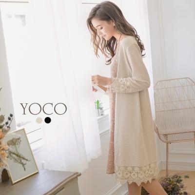 東京著衣-yoco 優雅蕾絲拼接長版針織外套-S.M.L(共二色)