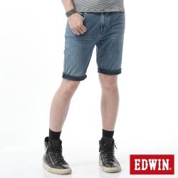 EDWIN 大尺碼 迦績褲黑腰頭牛仔短褲-男-拔洗藍