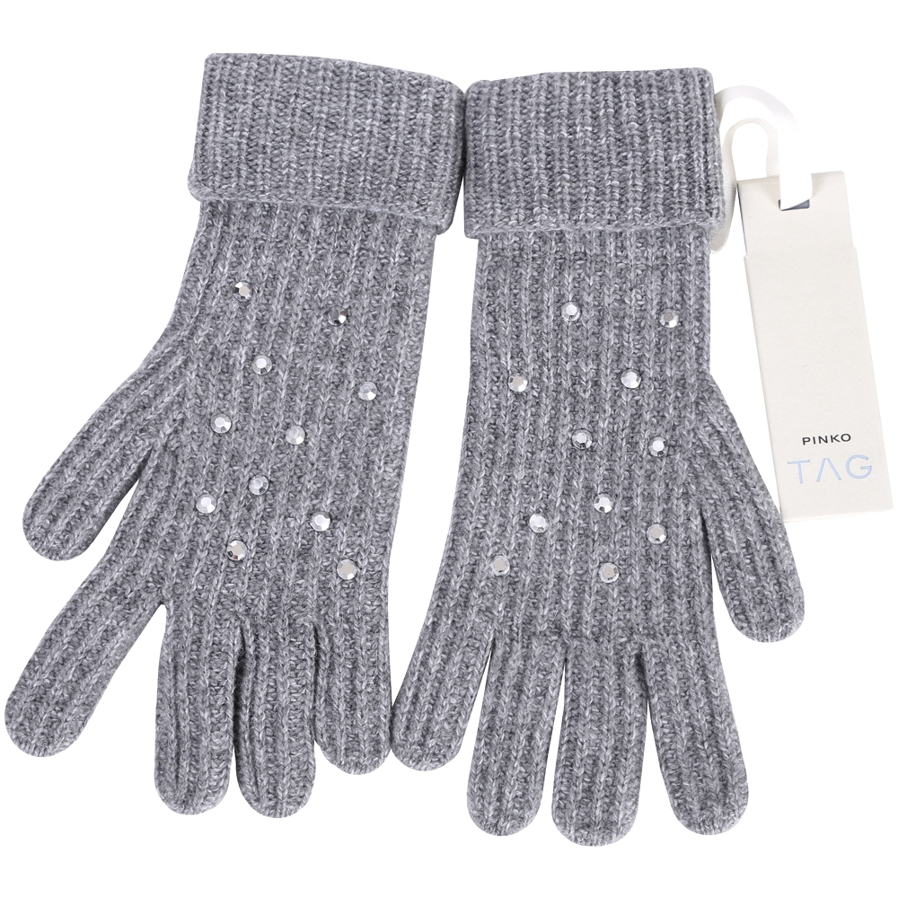 PINKO 灰色貼飾條紋針織手套(64%WOOL)