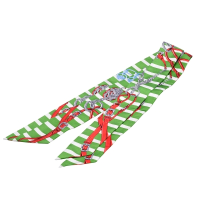 HERMES Brides de Gala條紋腰帶造型Twilly絲巾/領結-綠X紅-一組