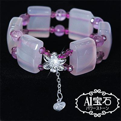 A1寶石 3A級方鑽型粉水晶手鍊(含開光加持)