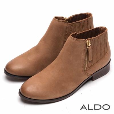 ALDO 原色真皮幾何直紋金屬拉鍊踝靴~個性卡其