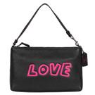 COACH Keith Haring LOVE黑色全皮方型手提掛小包