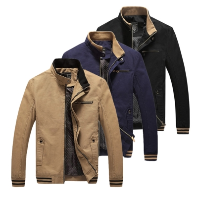 美國熊 雙領設計 騎士風格 修身版型 立領夾克外套