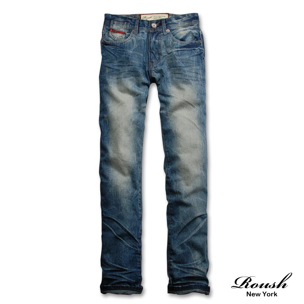 【 Roush 】格紋裝飾拼接刷色牛仔褲