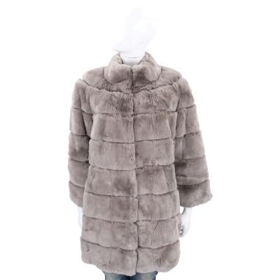 Manzoni 24 灰色立領兔毛皮草大衣外套