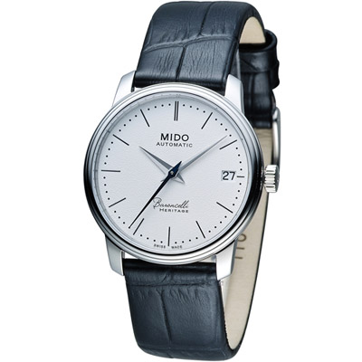 MIDO Baroncelli III 永恆系列超薄時尚機械腕錶-白x黑皮/33mm