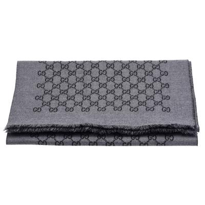 GUCCI 經典GG緹花線條羊毛雙色流蘇披巾/圍巾(深灰X黑)