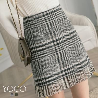 東京著衣-yoco 經典名媛格紋毛呢下擺抽鬚短裙-S.M.L(共二色)