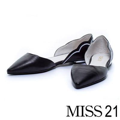 MISS 21 雲朵側空造型羊皮尖頭平底電鍍跟鞋-黑
