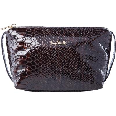 TONY PEROTTI 義大利蟒蛇紋牛皮 化妝包 #2397 ( 咖啡色 )
