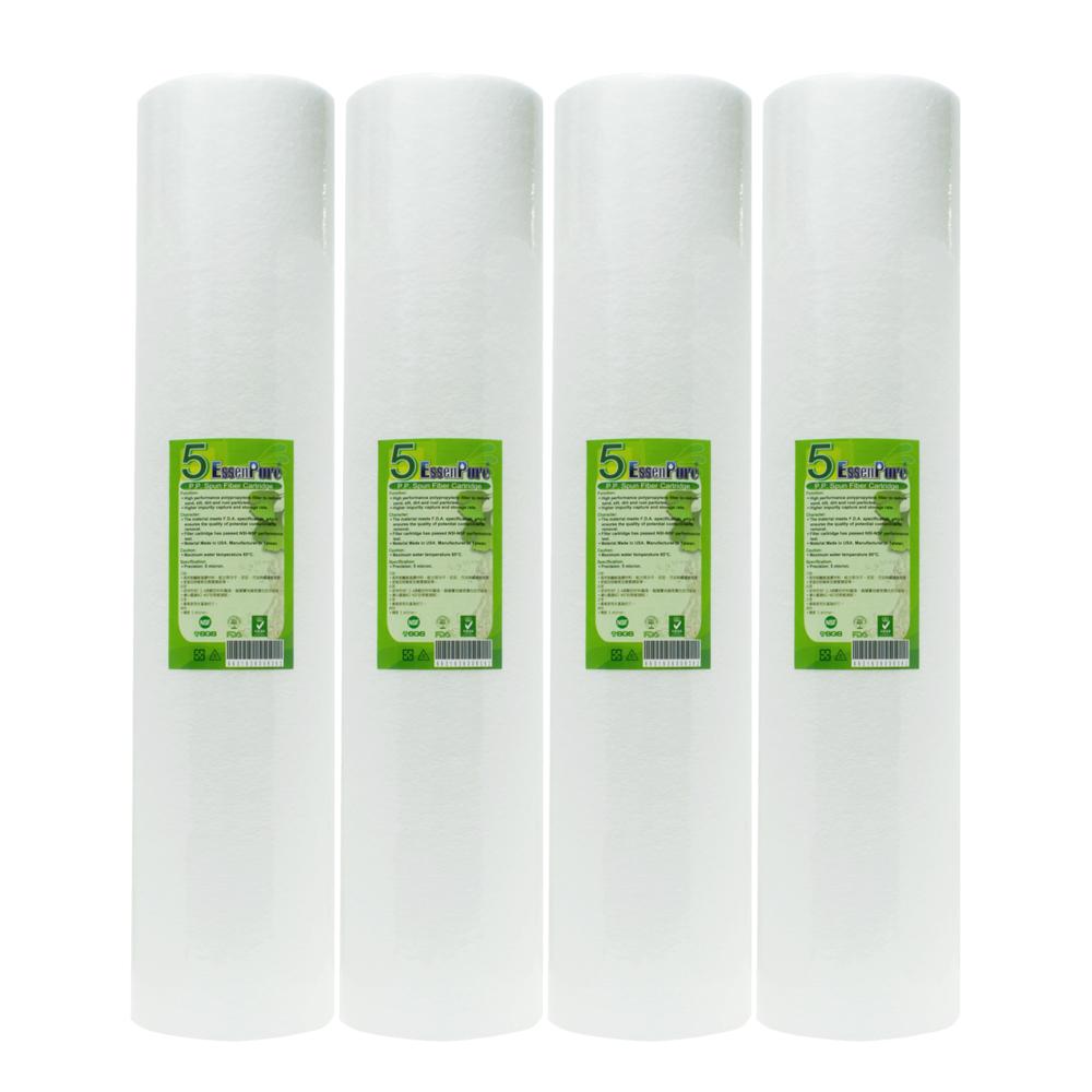 【EssenPure 】高品質20英吋大胖5微米PP濾心【4支組】