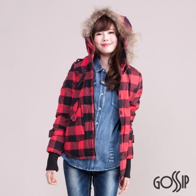 Gossip 經典格紋N3B軍裝連帽外套-紅色-女