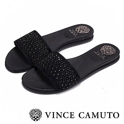 Vince Camuto 幾何簍空寬版一字拖鞋-黑色