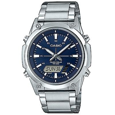 CASIO 實用商務雙重顯示太陽能電力雙顯不銹鋼錶(AMW-S820D-2A)藍面41.1