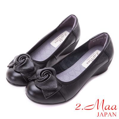 2.Maa-OL必備真皮立體雕花平底鞋-黑