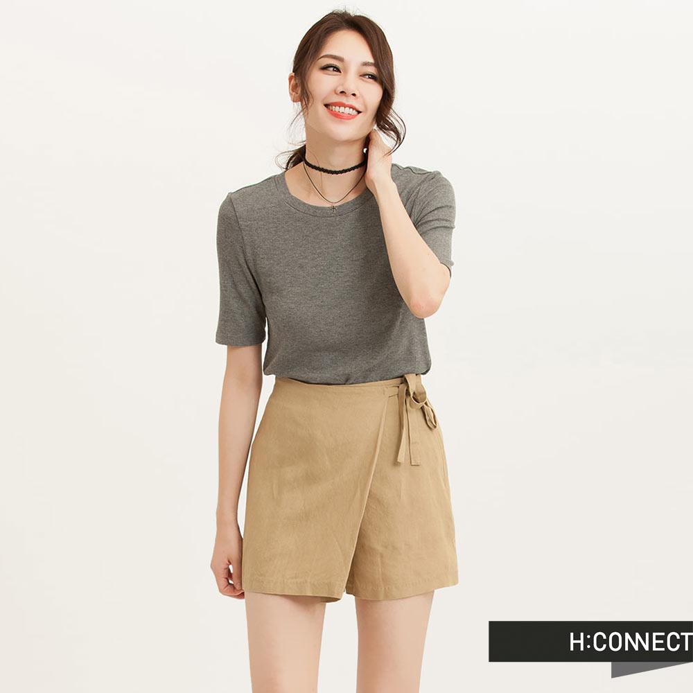 H:CONNECT 韓國品牌 女裝 - 側綁帶一片褲裙-棕(快)