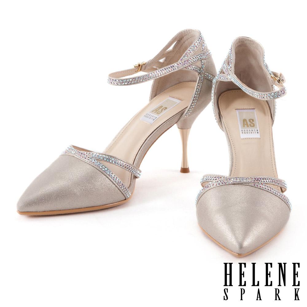 高跟鞋 HELENE SPARK質感奢華羊皮白鑽繫帶尖頭高跟鞋-金