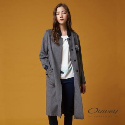 OUWEY歐薇 率性貼布刺繡長版大衣(灰)