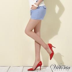 Victoria 中高腰棉麻色染短褲-女-水藍