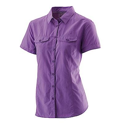 【Wildland 荒野】女排汗抗UV短袖襯衫紫