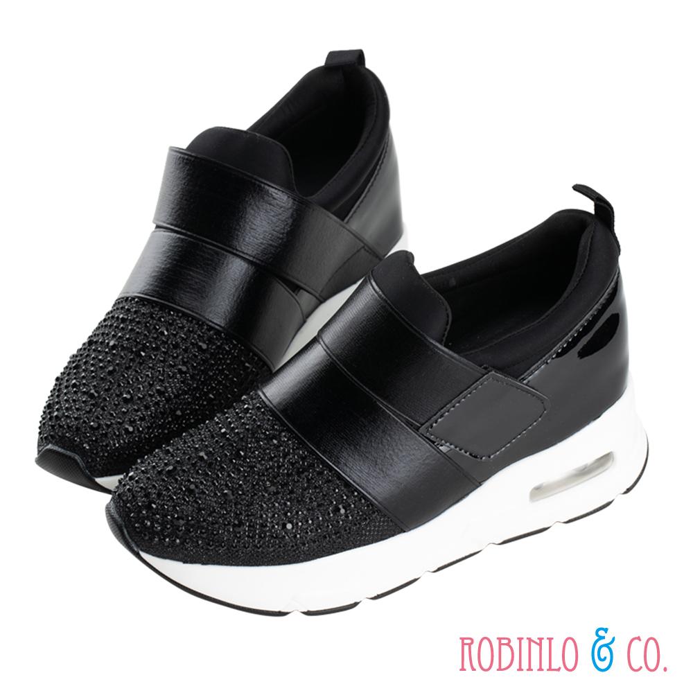 Robinlo & Co. 高調閃鑽內增高休閒鞋 黑色