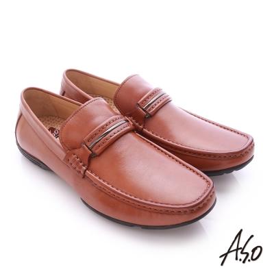 A.S.O 3D超動能 小牛皮直套式彈力舒適休閒鞋 茶色