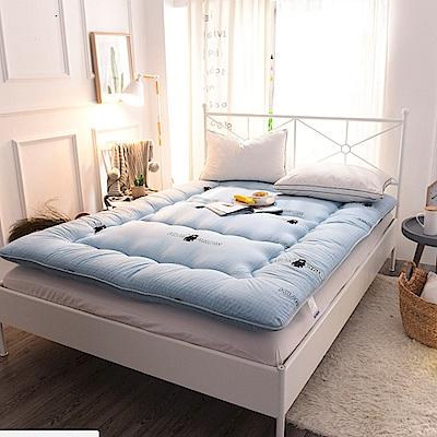 FL生活+ 超軟Q加長加厚8公分日式雙人床墊-淺藍格紋