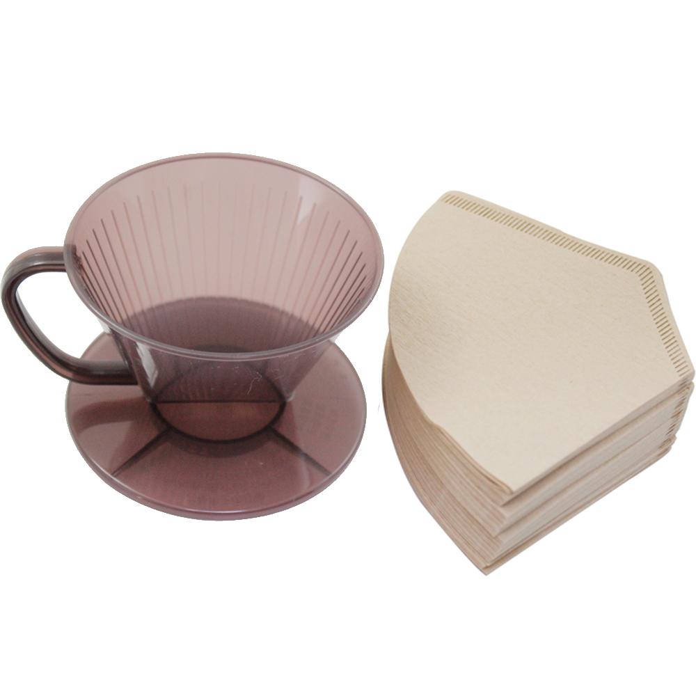 omax日製耐熱咖啡濾杯1入無漂白咖啡濾紙160入2包