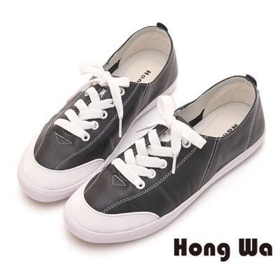 Hong 韓系素面牛皮繫帶休閒鞋 - 黑