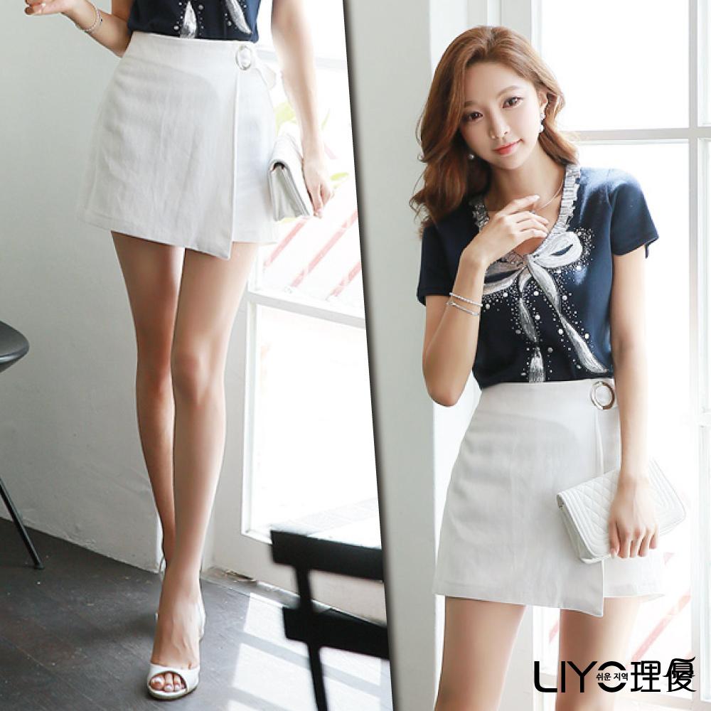 LIYO理優素面片狀式褲裙(白)