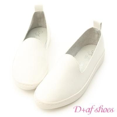 D+AF 休閒自在.超軟皮革素面懶人鞋*白