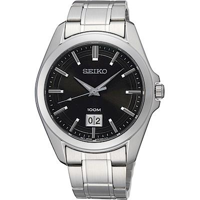 SEIKO 精工CS 大日期視窗百米腕錶(SUR009P1)-黑/40mm