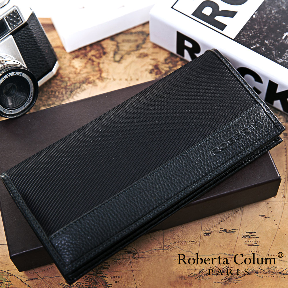 Roberta Colum - 雅痞時尚系牛皮款12卡1照兩折式長夾-黑