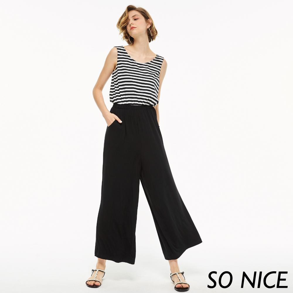 SO NICE率性條紋拼接連身寬褲