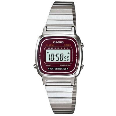 CASIO 經典復古風數位女腕錶(LA-670WA-4A)-酒紅框/24.6mm