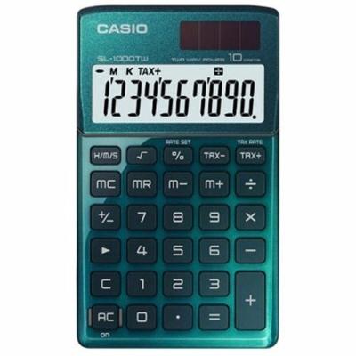 CASIO 10位元Stylish閃耀金屬光攜帶型計算機(大地綠)SL-1000TW-GN