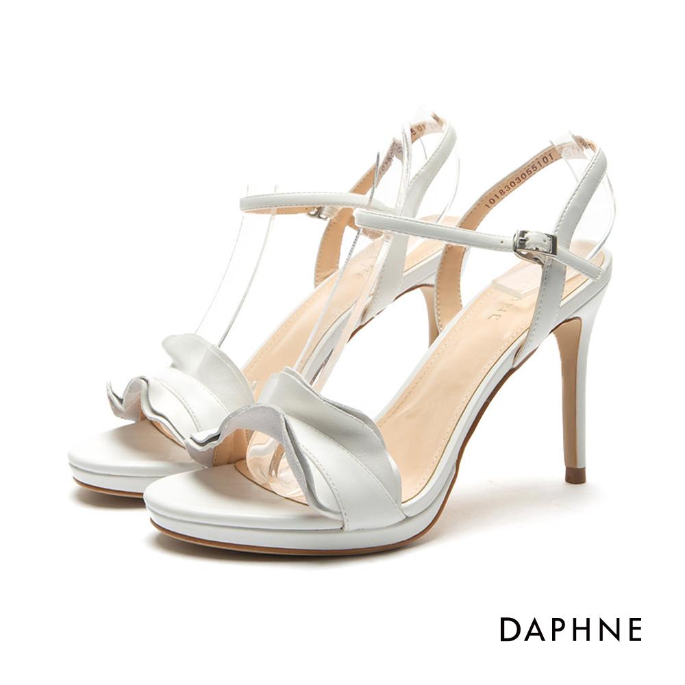 達芙妮DAPHNE 涼鞋-前高後高荷葉邊一字帶涼鞋-白