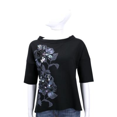 MARELLA 黑色印花亮片飾五分袖上衣