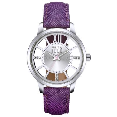ELLE璀璨晶鑽鏤空時尚皮革手錶-銀X紫/37mm