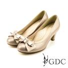 GDC-質感水鑽蝴蝶結牛皮粗低跟鞋-粉色