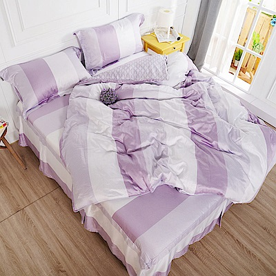 夢工場 浪漫界線天絲頂規款四件套鋪棉床罩組-雙人