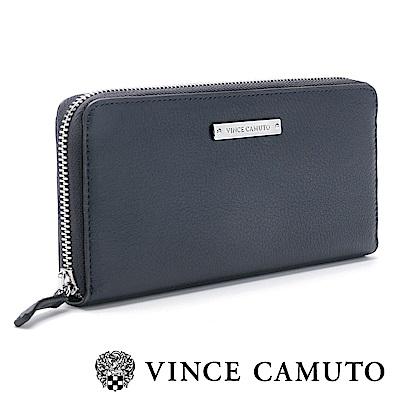Vince Camuto 素面金屬LOGO百搭長夾-藍色