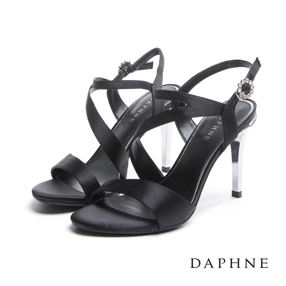 達芙妮DAPHNE 涼鞋-緞面簡約水鑽細高跟涼鞋-黑