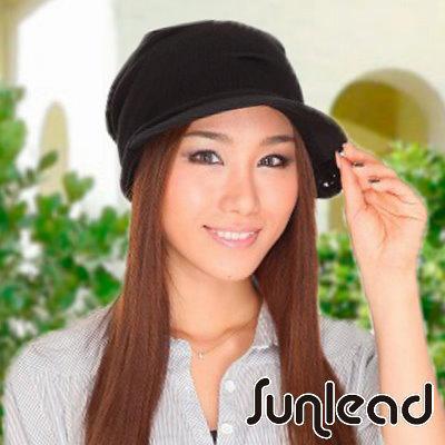 Sunlead 日系防曬抗UV深圓頂包覆垂墬美型遮陽軟帽 (黑色)