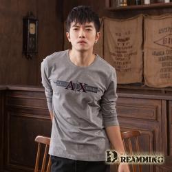 Dreamming 帥氣AX萊卡彈力長袖圓領T-共二色