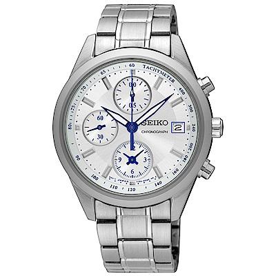 SEIKO精工 經典雅爵三眼計時視距儀石英腕錶(SNDV51P1)-白色/36mm